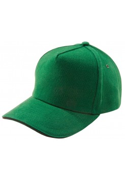 Бейсболка Unit Classic, ярко-зеленая с черным кантом