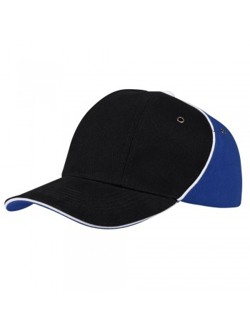 Бейсболка UNIT SMART, черная с синим оптом