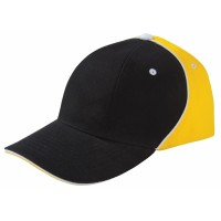 Бейсболка UNIT SMART, черная с желтым