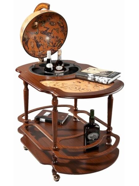 Столик с глобусом-баром Classic на колесиках, большой