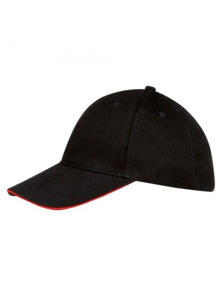 Бейсболка BUFFALO, черная с красным