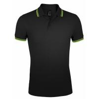 Рубашка поло мужская PASADENA MEN 200 с контрастной отделкой, черная с зеленым