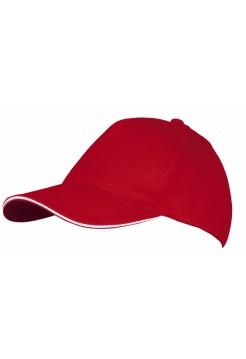 Бейсболка LONG BEACH, красная с белым