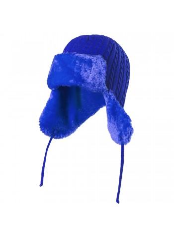 Шапка-ушанка Russian Style, ярко-синяя оптом