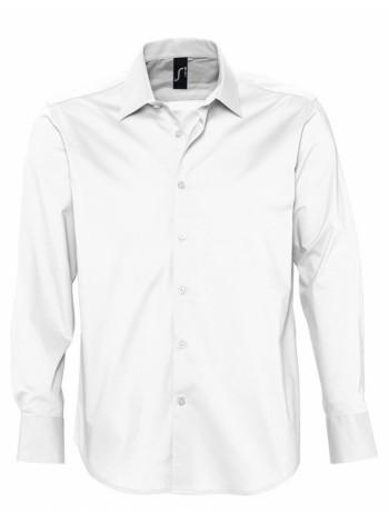 Рубашка мужская с длинным рукавом BRIGHTON, белая оптом
