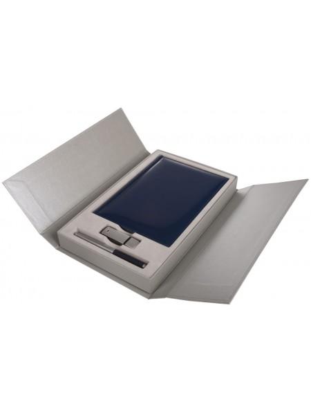 Коробка подарочная под ежедневник, флешку и ручку, серебристая