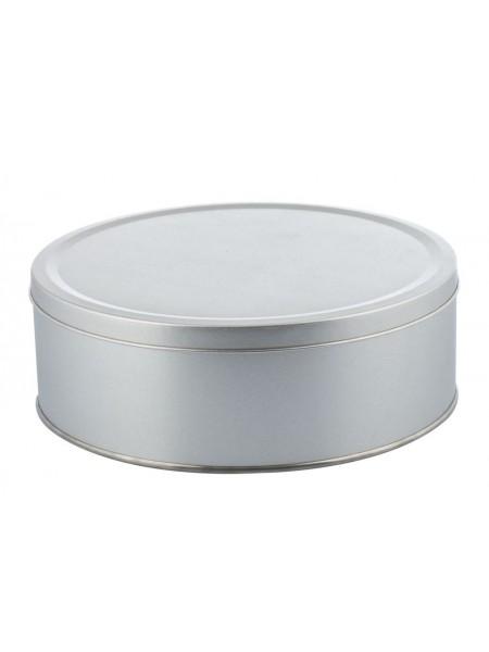 Коробка круглая, большая, серебристая