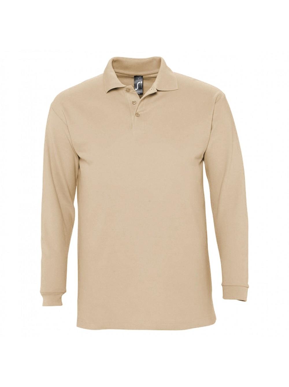 1233ac7074104 Рубашка поло мужская с длинным рукавом WINTER II 210 бежевая Sol's ...
