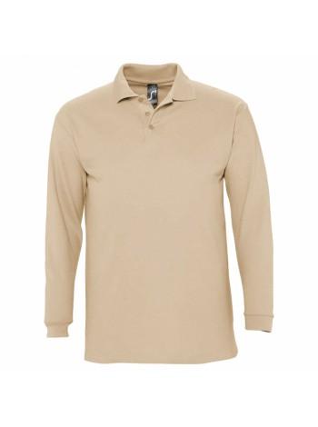 Рубашка поло мужская с длинным рукавом WINTER II 210 бежевая оптом