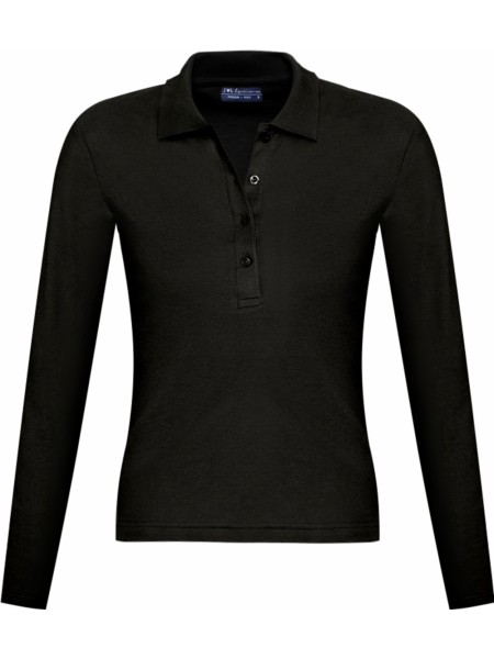 Рубашка поло женская с длинным рукавом PODIUM 210 черная