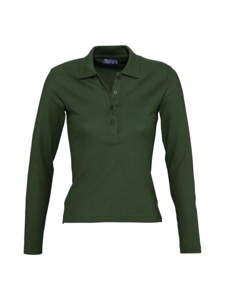 Рубашка поло женская с длинным рукавом PODIUM 210 темно-зеленая