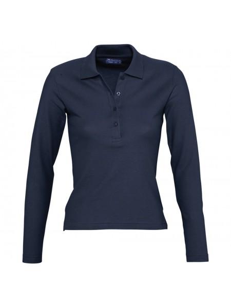 Рубашка поло женская с длинным рукавом PODIUM 210 темно-синяя