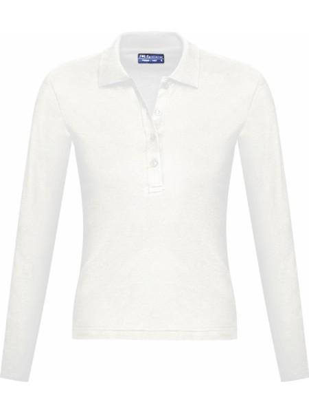 Рубашка поло женская с длинным рукавом PODIUM 210 белая