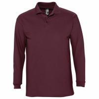 Рубашка поло мужская с длинным рукавом WINTER II 210 бордовая