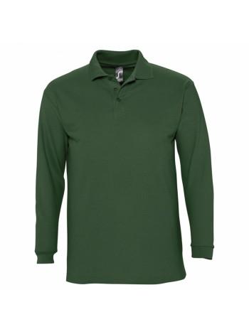 Рубашка поло мужская с длинным рукавом WINTER II 210 темно-зеленая оптом