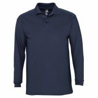 Рубашка поло мужская с длинным рукавом WINTER II 210 темно-синяя
