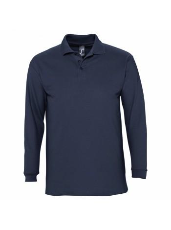 Рубашка поло мужская с длинным рукавом WINTER II 210 темно-синяя оптом