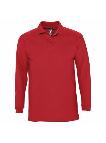 Рубашка поло мужская с длинным рукавом WINTER II 210 красная оптом