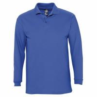 Рубашка поло мужская с длинным рукавом WINTER II 210 ярко-синяя
