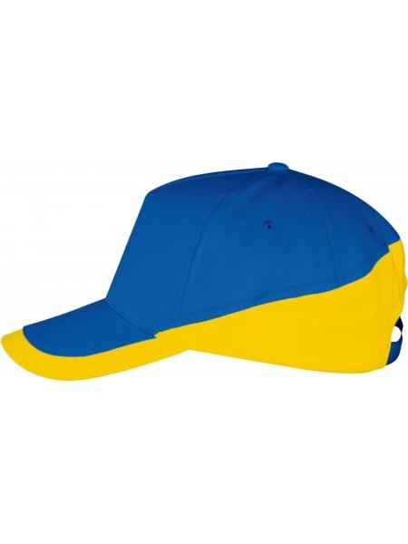 Бейсболка BOOSTER, ярко-синяя с желтым
