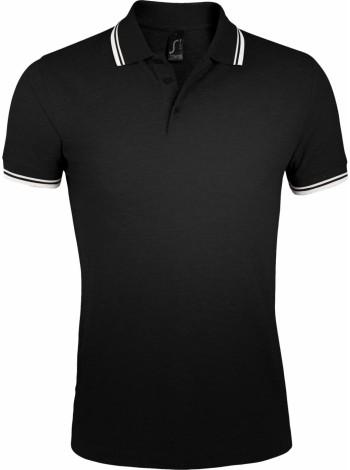 Рубашка поло мужская PASADENA MEN 200 с контрастной отделкой, черная с белым оптом