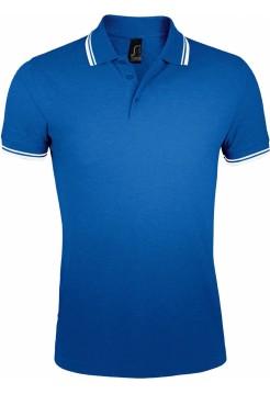 Рубашка поло мужская PASADENA MEN 200 с контрастной отделкой, ярко-синяя с белым