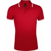 Рубашка поло мужская PASADENA MEN 200 с контрастной отделкой, красная с белым