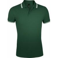 Рубашка поло мужская PASADENA MEN 200 с контрастной отделкой, зеленая с белым