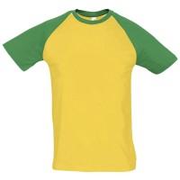 Футболка мужская двухцветная FUNKY 150, желтая с зеленым