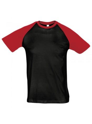 Футболка мужская двухцветная FUNKY 150, черная с красным оптом