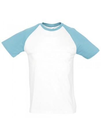 Футболка мужская двухцветная FUNKY 150, белая с голубым оптом