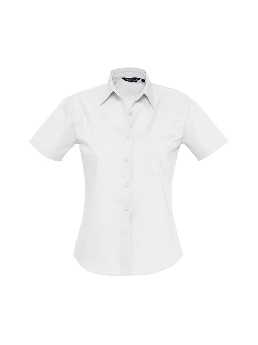 2740b697c5d Рубашка женская с коротким рукавом ENERGY белая Sol s купить оптом ...