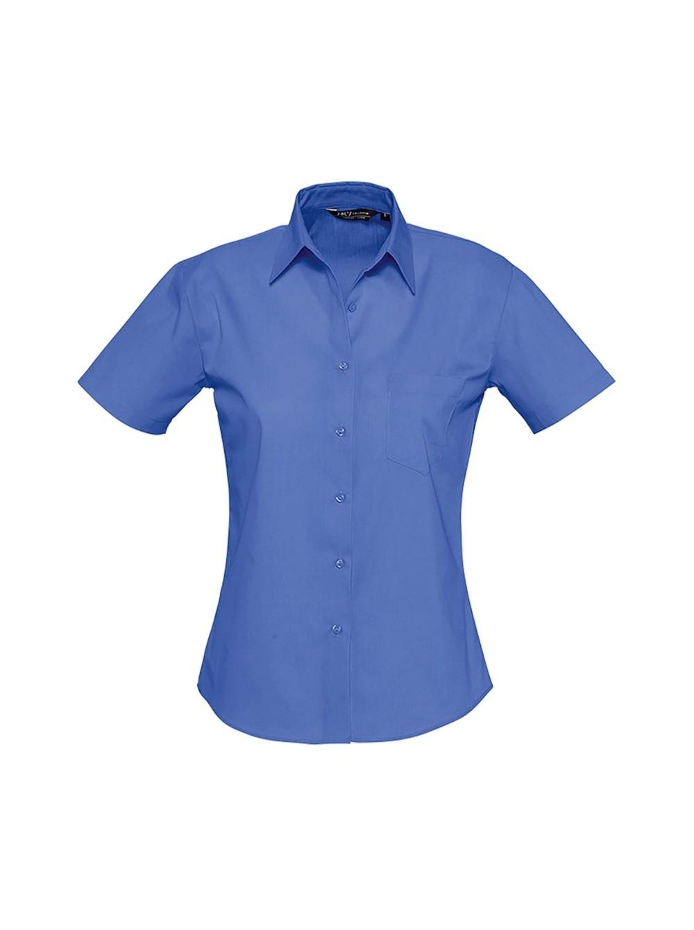 6e3bc566a34 Рубашка женская с коротким рукавом ENERGY кобальт Sol s купить оптом ...