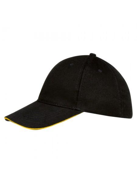 Бейсболка BUFFALO, черная с желтым