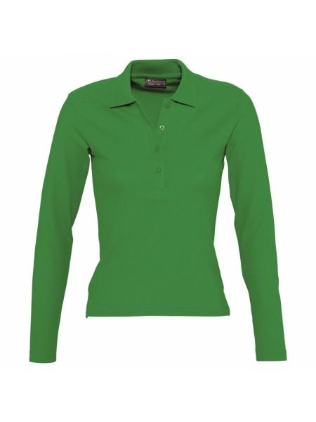 Рубашка поло женская с длинным рукавом PODIUM ярко-зеленая