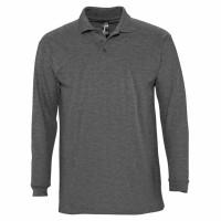 Рубашка поло мужская с длинным рукавом WINTER II 210 черный меланж