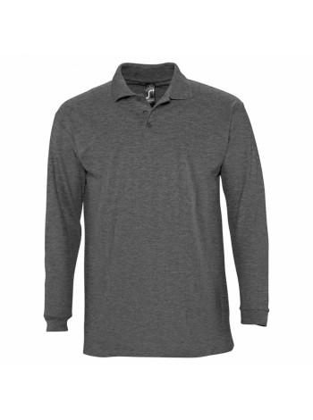 Рубашка поло мужская с длинным рукавом WINTER II 210 черный меланж оптом
