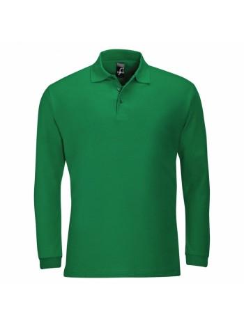 Рубашка поло мужская с длинным рукавом WINTER II 210 ярко-зеленая оптом