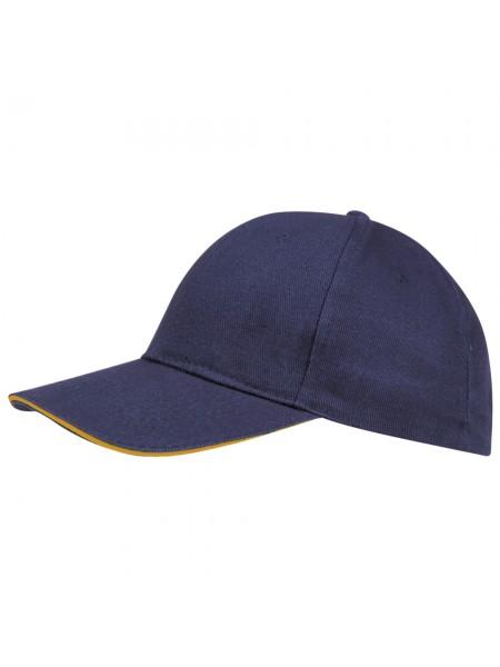 Бейсболка BUFFALO, темно-синяя с неоново-оранжевым