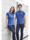 Рубашка поло мужская PASADENA MEN 200 с контрастной отделкой, белая с голубым оптом